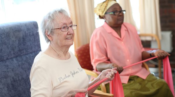 Elderly ladies in care home