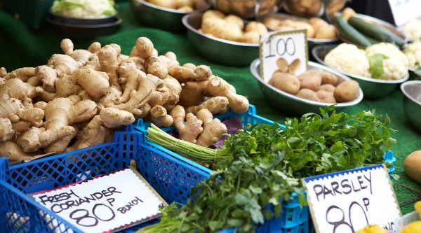 Healthy vegetables on a market stall
